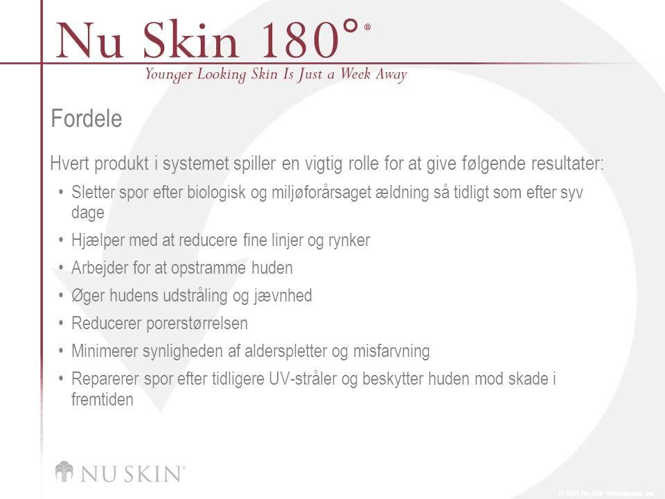 © 2001 Nu Skin International, Inc Fordele Hvert produkt i systemet spiller en vigtig rolle for at give følgende resultater: Sletter spor efter biologisk og miljøforårsaget ældning så tidligt som efter syv dage Hjælper med at reducere fine linjer og rynker Arbejder for at opstramme huden Øger hudens udstråling og jævnhed Reducerer porerstørrelsen Minimerer synligheden af alderspletter og misfarvning Reparerer spor efter tidligere UV-stråler og beskytter huden mod skade i fremtiden