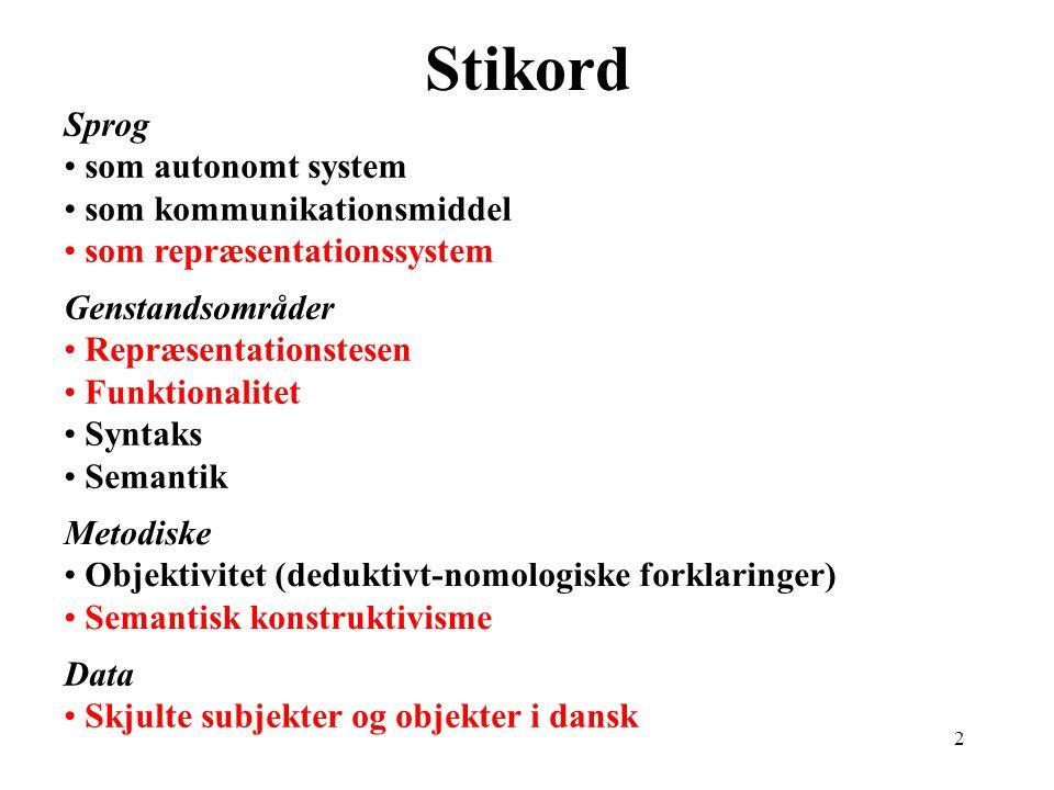 Syntaks og betydning Fjerde Forskningskollokvium Sprog på Statsbiblioteket 27.11.