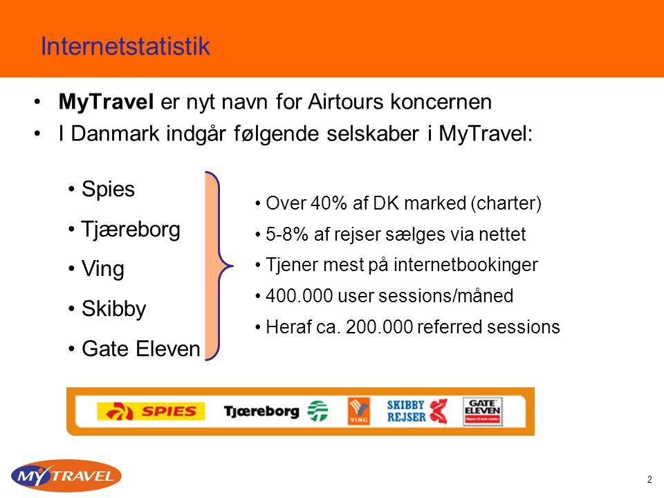 2 Internetstatistik MyTravel er nyt navn for Airtours koncernen I Danmark indgår følgende selskaber i MyTravel: Spies Tjæreborg Ving Skibby Gate Eleven Over 40% af DK marked (charter) 5-8% af rejser sælges via nettet Tjener mest på internetbookinger 400.000 user sessions/måned Heraf ca.