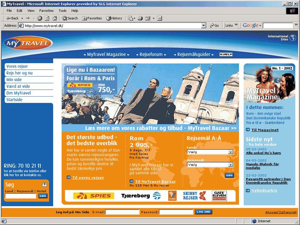 4 Internetstatistik MyTravel åbning af salgskontor + callcenter 14/12 2001 www.mytravel.dk launch 15/1 2002 Session s mytravel.dkspies.dkAlle websites Jan-02180.407 (½ måned) 232.442800.000 Feb-02200.190129.099550.000 mytravel.dk har ikke betydet færre besøg på andre sites