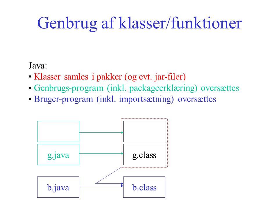 Genbrug af klasser/funktioner Java: Klasser samles i pakker (og evt.