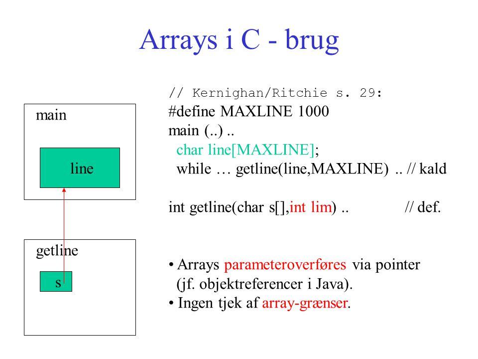 Arrays i C - brug // Kernighan/Ritchie s. 29: #define MAXLINE 1000 main (..)..