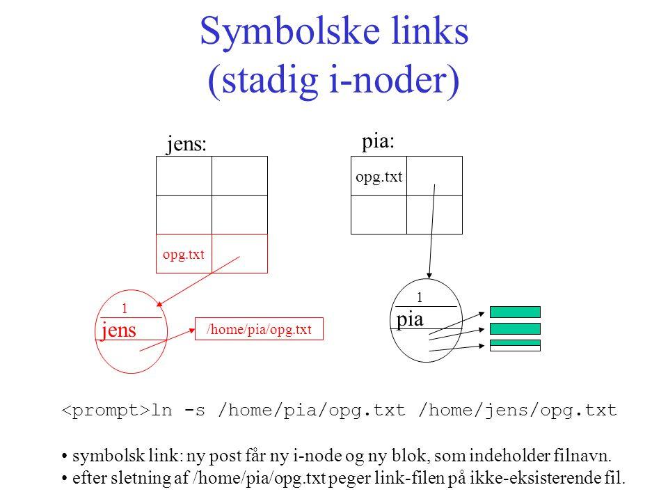 Symbolske links (stadig i-noder) opg.txt jens: pia: ln -s /home/pia/opg.txt /home/jens/opg.txt symbolsk link: ny post får ny i-node og ny blok, som indeholder filnavn.