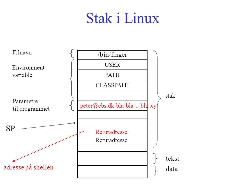 Stak i Linux stak Returadresse adresse på shellen tekst data /bin/finger USER PATH CLASSPATH Environment- variable peter@cbs.dk-bla-bla-..-bla-xy...
