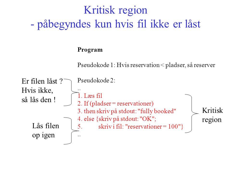 Kritisk region - påbegyndes kun hvis fil ikke er låst Program Pseudokode 1: Hvis reservation < pladser, så reserver Pseudokode 2:..