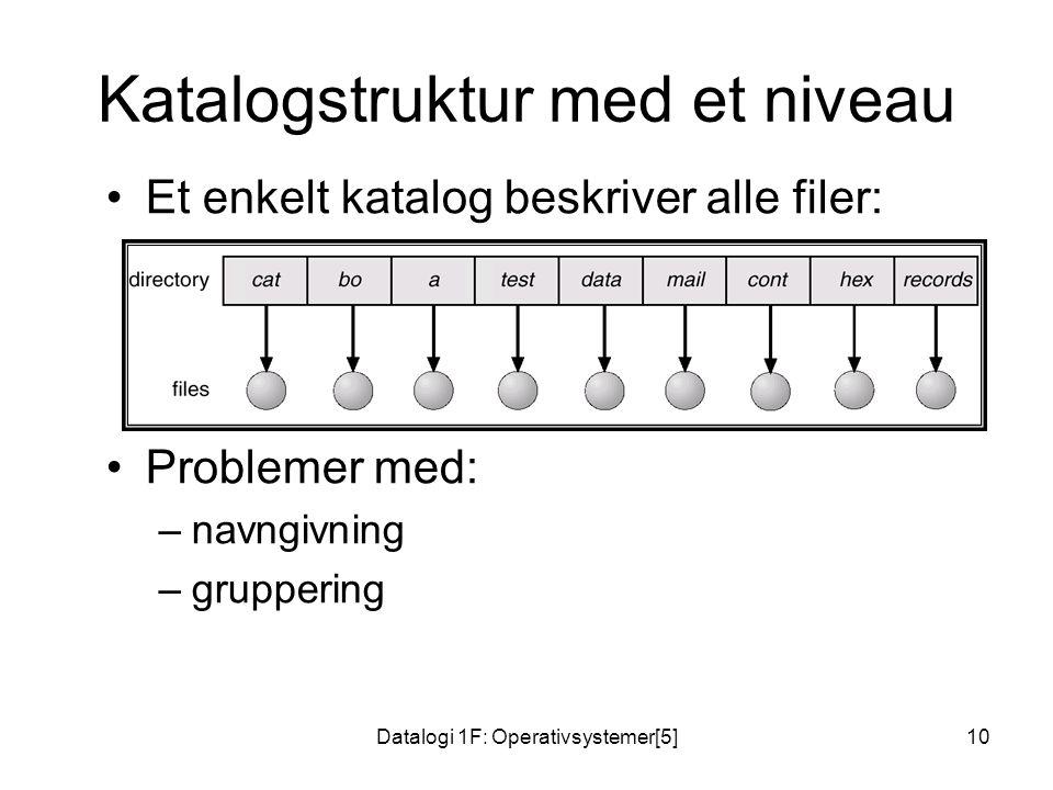 Datalogi 1F: Operativsystemer[5]10 Katalogstruktur med et niveau Et enkelt katalog beskriver alle filer: Problemer med: –navngivning –gruppering