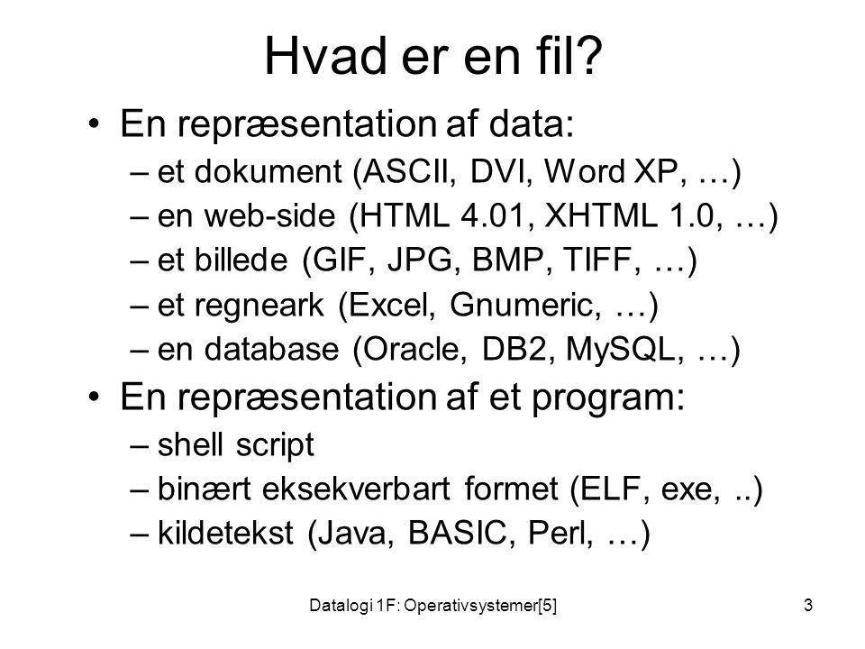 Datalogi 1F: Operativsystemer[5]3 Hvad er en fil.