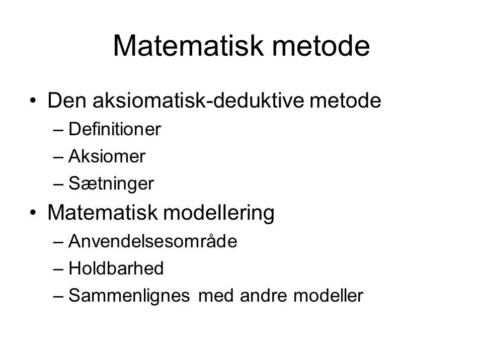 Matematisk metode Den aksiomatisk-deduktive metode –Definitioner –Aksiomer –Sætninger Matematisk modellering –Anvendelsesområde –Holdbarhed –Sammenlignes med andre modeller