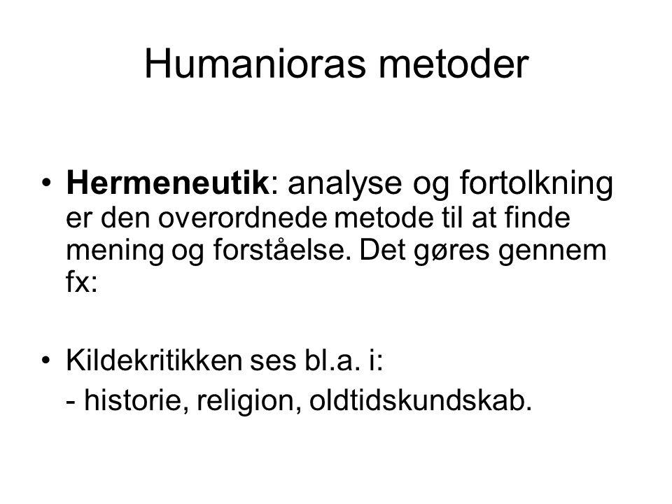 Humanioras metoder Hermeneutik: analyse og fortolkning er den overordnede metode til at finde mening og forståelse.
