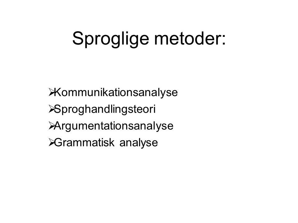 Sproglige metoder:  Kommunikationsanalyse  Sproghandlingsteori  Argumentationsanalyse  Grammatisk analyse