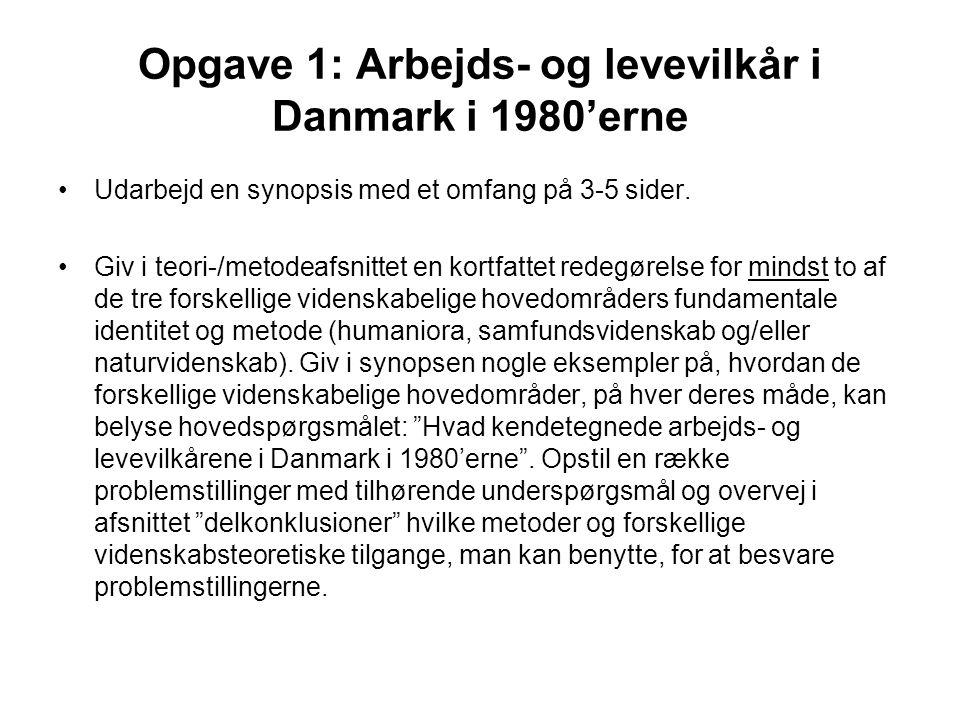 Opgave 1: Arbejds- og levevilkår i Danmark i 1980'erne Udarbejd en synopsis med et omfang på 3-5 sider.