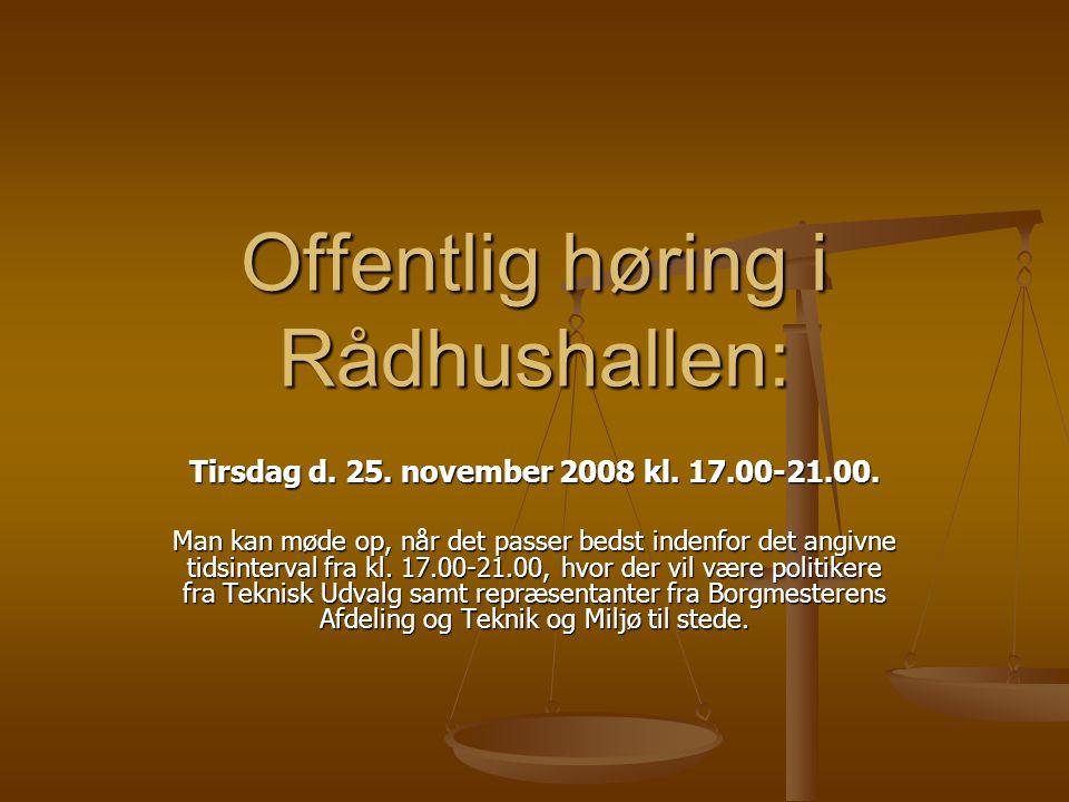 Offentlig høring i Rådhushallen: Tirsdag d. 25. november 2008 kl.