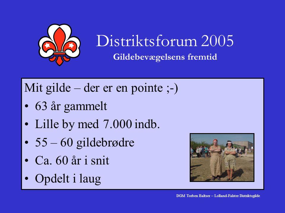 Distriktsforum 2005 Gildebevægelsens fremtid Mit gilde – der er en pointe ;-) 63 år gammelt Lille by med 7.000 indb.