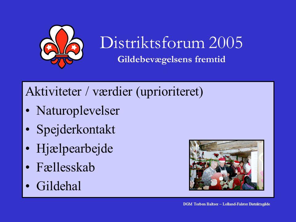 Distriktsforum 2005 Gildebevægelsens fremtid Aktiviteter / værdier (uprioriteret) Naturoplevelser Spejderkontakt Hjælpearbejde Fællesskab Gildehal DGM Torben Baltser – Lolland-Falster Distriktsgilde