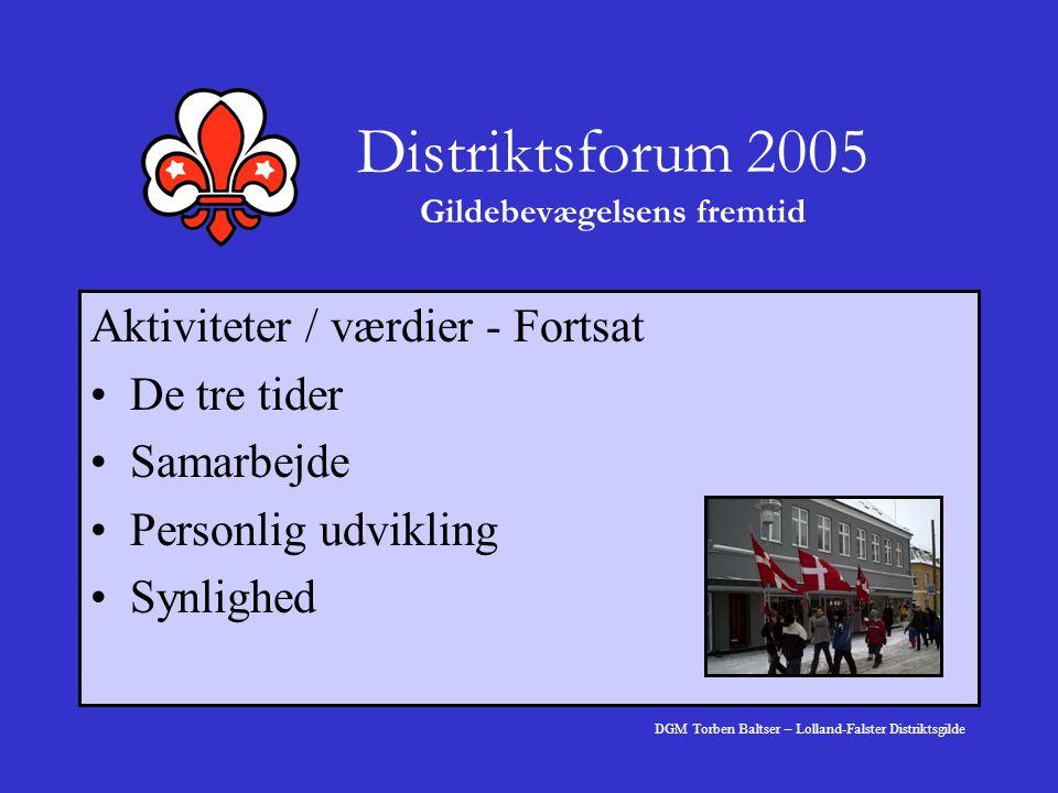 Distriktsforum 2005 Gildebevægelsens fremtid Aktiviteter / værdier - Fortsat De tre tider Samarbejde Personlig udvikling Synlighed DGM Torben Baltser – Lolland-Falster Distriktsgilde