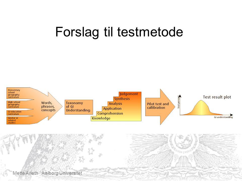 Mette Arleth Aalborg Universitet Forslag til testmetode