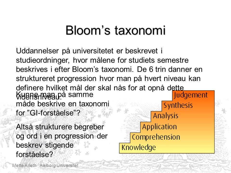 Mette Arleth Aalborg Universitet Bloom's taxonomi Uddannelser på universitetet er beskrevet i studieordninger, hvor målene for studiets semestre beskrives i efter Bloom's taxonomi.