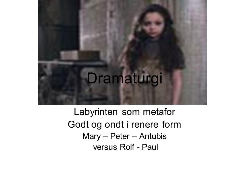 Dramaturgi Labyrinten som metafor Godt og ondt i renere form Mary – Peter – Antubis versus Rolf - Paul