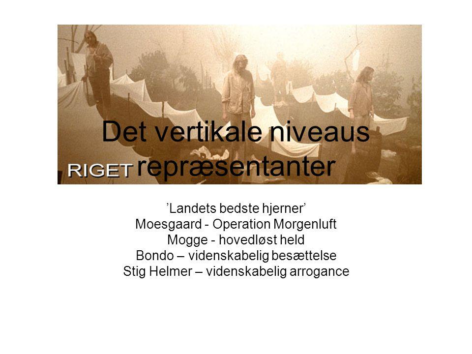 Det vertikale niveaus repræsentanter 'Landets bedste hjerner' Moesgaard - Operation Morgenluft Mogge - hovedløst held Bondo – videnskabelig besættelse Stig Helmer – videnskabelig arrogance