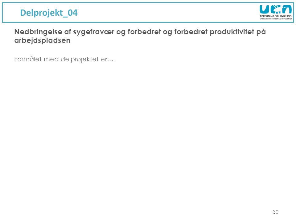 Delprojekt_04 30 Formålet med delprojektet er….