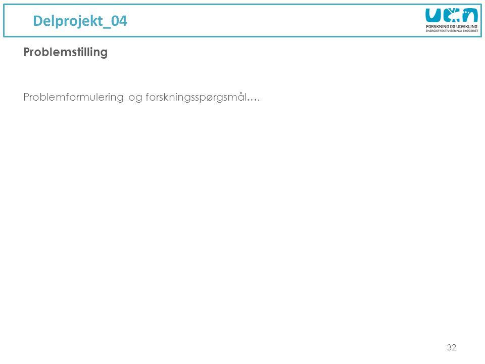 Delprojekt_04 32 Problemformulering og forskningsspørgsmål…. Problemstilling