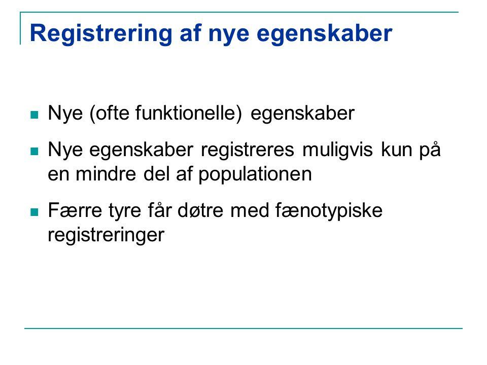 Registrering af nye egenskaber Nye (ofte funktionelle) egenskaber Nye egenskaber registreres muligvis kun på en mindre del af populationen Færre tyre får døtre med fænotypiske registreringer