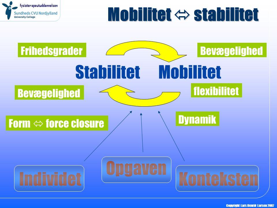 fysioterapeutuddannelsen Copyright Lars Henrik Larsen 2007 Mobilitet  stabilitet StabilitetMobilitet Frihedsgrader Opgaven Form  force closure Indiv