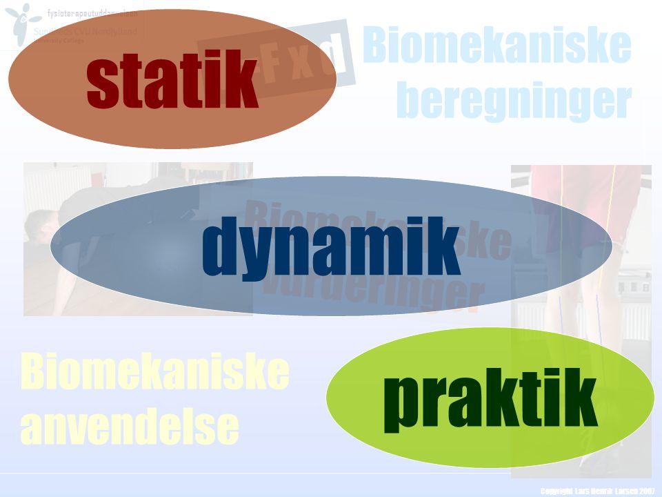 fysioterapeutuddannelsen Copyright Lars Henrik Larsen 2007 Biomekaniske beregninger Biomekaniske anvendelse T=F x d Biomekaniske vurderinger statik pr