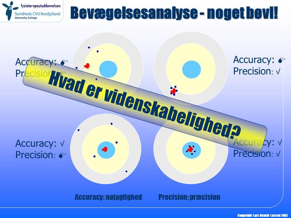 fysioterapeutuddannelsen Copyright Lars Henrik Larsen 2007 Bevægelsesanalyse - noget bøvl! Accuracy:  Precision :  Accuracy:  Precision :  Accurac