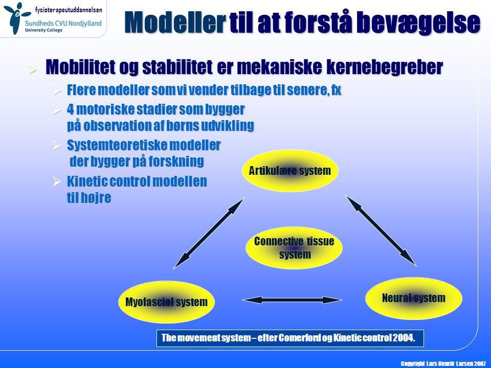 fysioterapeutuddannelsen Copyright Lars Henrik Larsen 2007 Modeller til at forstå bevægelse  Mobilitet og stabilitet er mekaniske kernebegreber  Fle
