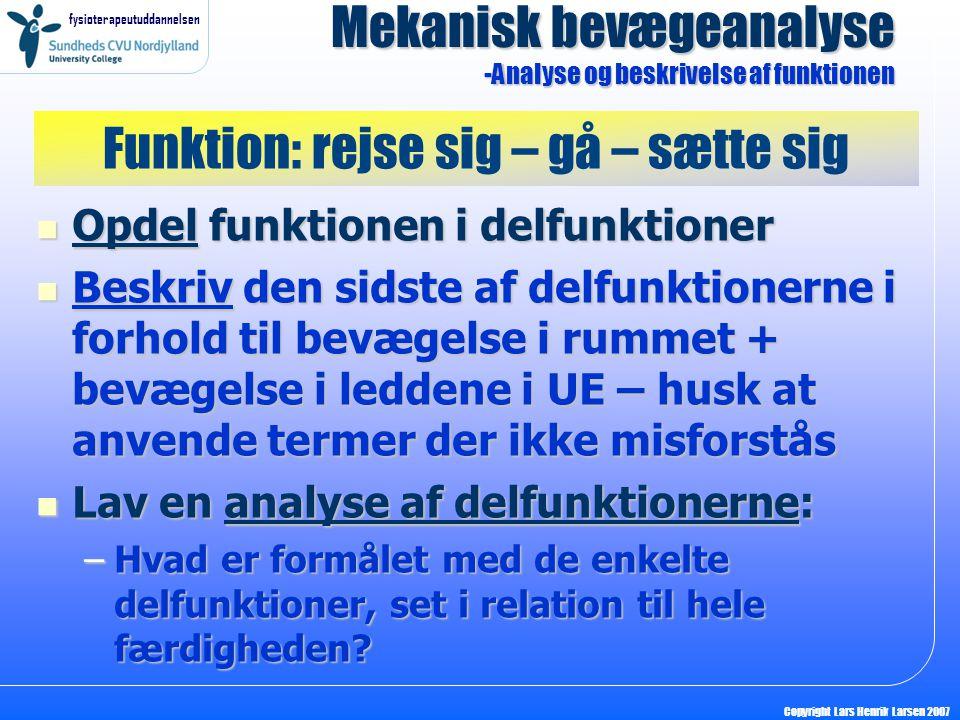 fysioterapeutuddannelsen Copyright Lars Henrik Larsen 2007 Hvilken type muskelarbejde laver de store muskelgrupper i UE under bevægelserne.