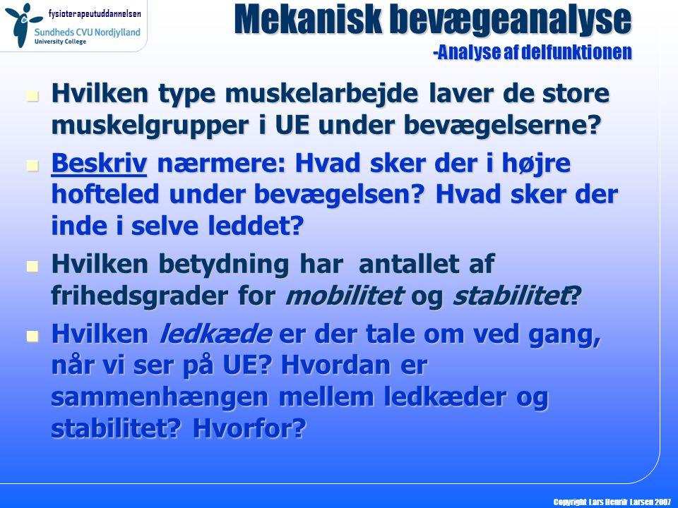 fysioterapeutuddannelsen Copyright Lars Henrik Larsen 2007 Hvilken type muskelarbejde laver de store muskelgrupper i UE under bevægelserne? Hvilken ty