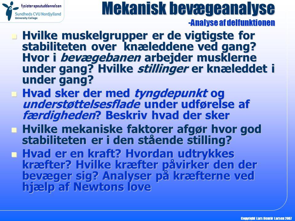 fysioterapeutuddannelsen Copyright Lars Henrik Larsen 2007 Hvilke muskelgrupper er de vigtigste for stabiliteten over knæleddene ved gang? Hvor i bevæ