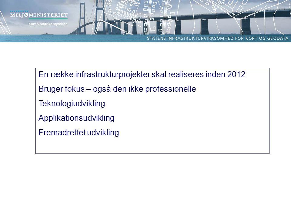 En række infrastrukturprojekter skal realiseres inden 2012 Bruger fokus – også den ikke professionelle Teknologiudvikling Applikationsudvikling Fremadrettet udvikling