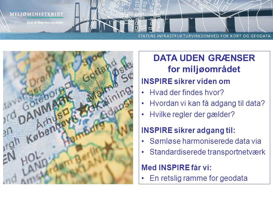 DATA UDEN GRÆNSER for miljøområdet INSPIRE sikrer viden om Hvad der findes hvor.