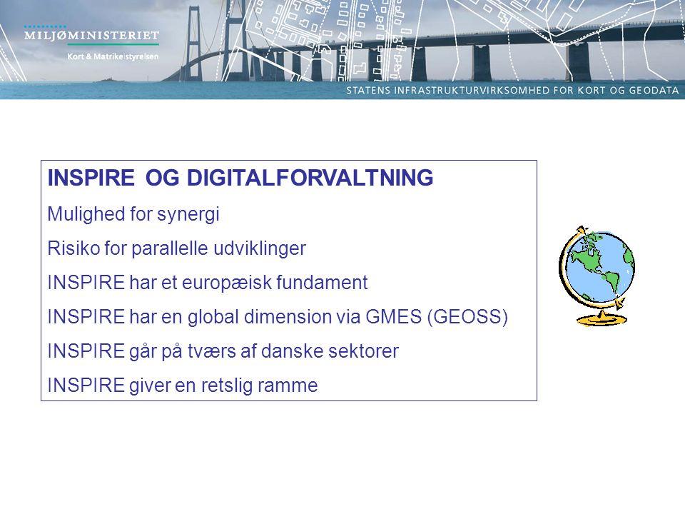 INSPIRE OG DIGITALFORVALTNING Mulighed for synergi Risiko for parallelle udviklinger INSPIRE har et europæisk fundament INSPIRE har en global dimension via GMES (GEOSS) INSPIRE går på tværs af danske sektorer INSPIRE giver en retslig ramme