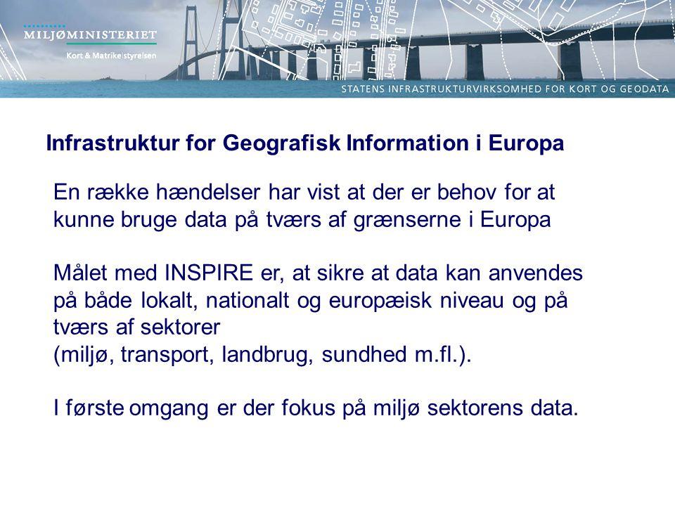 Infrastruktur for Geografisk Information i Europa En række hændelser har vist at der er behov for at kunne bruge data på tværs af grænserne i Europa Målet med INSPIRE er, at sikre at data kan anvendes på både lokalt, nationalt og europæisk niveau og på tværs af sektorer (miljø, transport, landbrug, sundhed m.fl.).