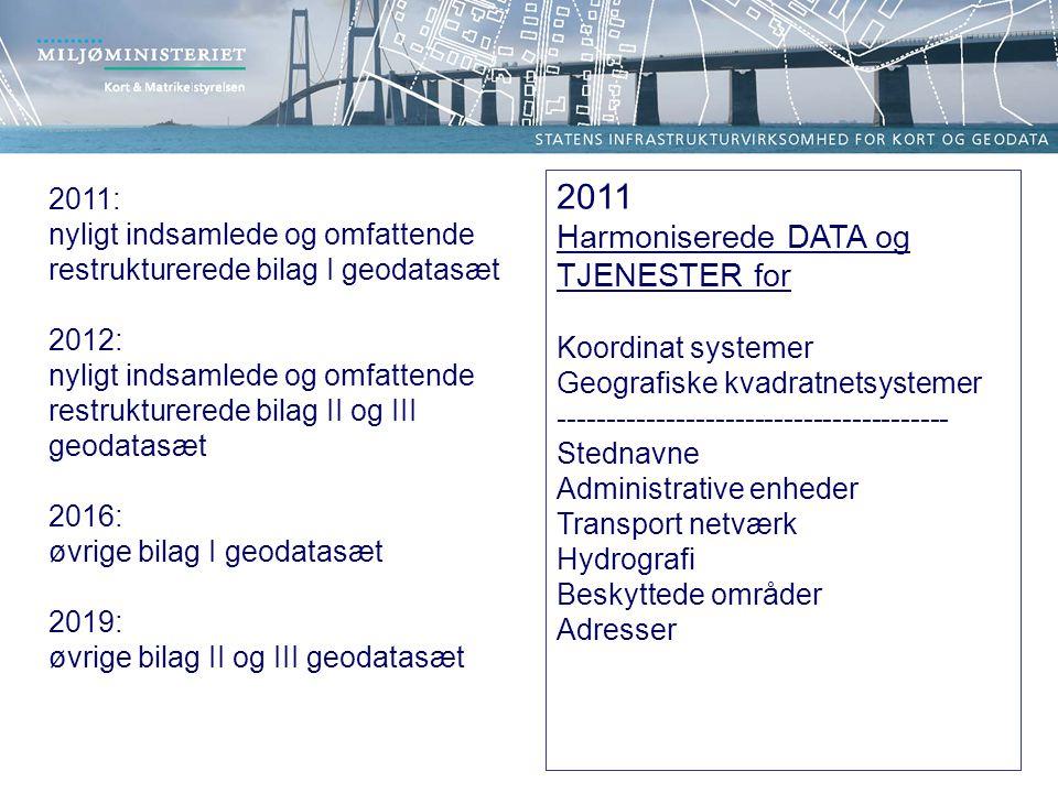 2011 Harmoniserede DATA og TJENESTER for Koordinat systemer Geografiske kvadratnetsystemer ---------------------------------------- Stednavne Administrative enheder Transport netværk Hydrografi Beskyttede områder Adresser 2011: nyligt indsamlede og omfattende restrukturerede bilag I geodatasæt 2012: nyligt indsamlede og omfattende restrukturerede bilag II og III geodatasæt 2016: øvrige bilag I geodatasæt 2019: øvrige bilag II og III geodatasæt
