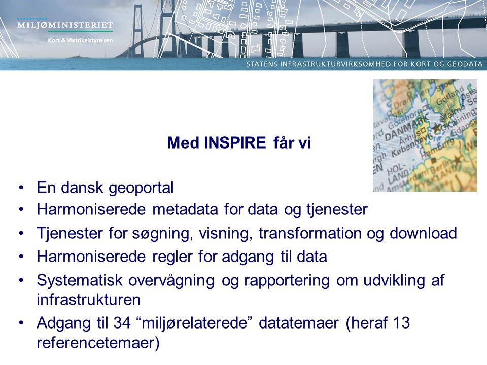 Med INSPIRE får vi En dansk geoportal Harmoniserede metadata for data og tjenester Tjenester for søgning, visning, transformation og download Harmoniserede regler for adgang til data Systematisk overvågning og rapportering om udvikling af infrastrukturen Adgang til 34 miljørelaterede datatemaer (heraf 13 referencetemaer)