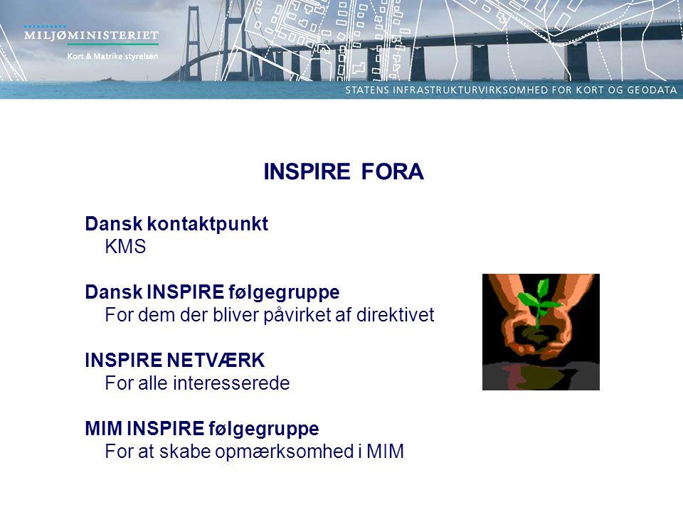 INSPIRE FORA Dansk kontaktpunkt KMS Dansk INSPIRE følgegruppe For dem der bliver påvirket af direktivet INSPIRE NETVÆRK For alle interesserede MIM INSPIRE følgegruppe For at skabe opmærksomhed i MIM