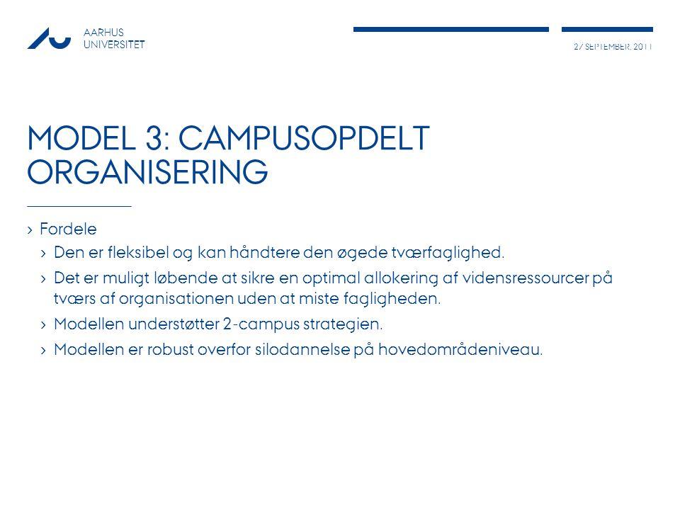 27 SEPTEMBER, 2011 AARHUS UNIVERSITET MODEL 3: CAMPUSOPDELT ORGANISERING › Fordele › Den er fleksibel og kan håndtere den øgede tværfaglighed.