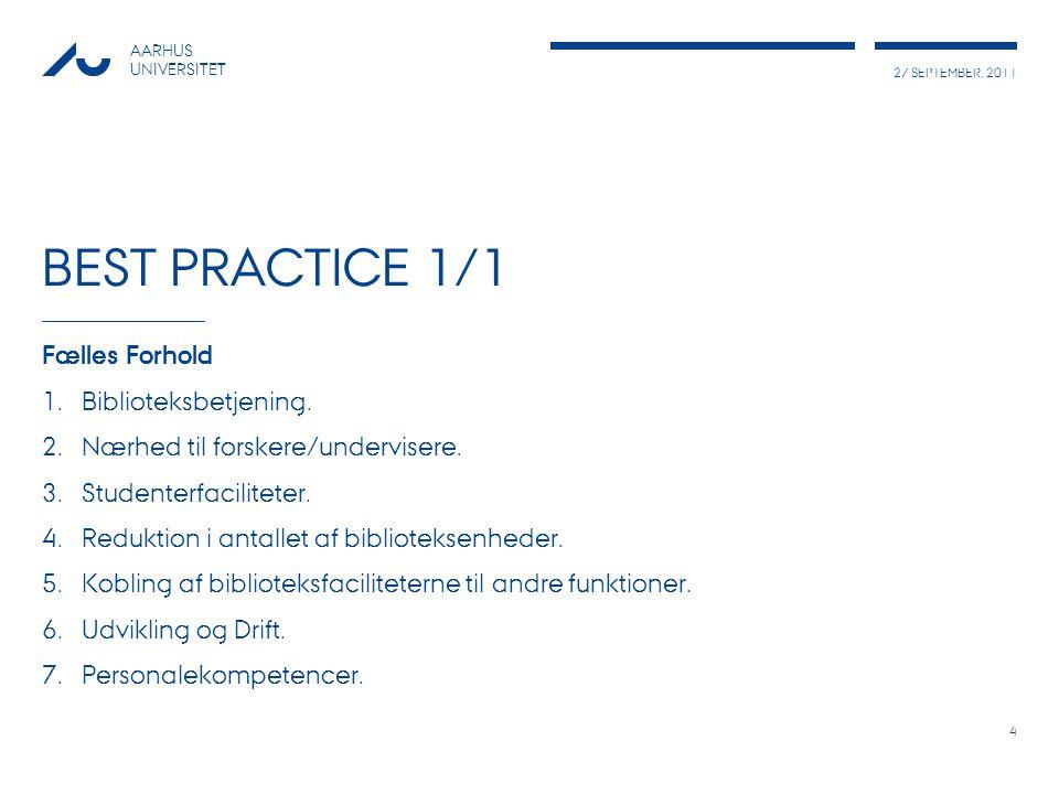 27 SEPTEMBER, 2011 AARHUS UNIVERSITET BEST PRACTICE 1/1 Fælles Forhold 1.