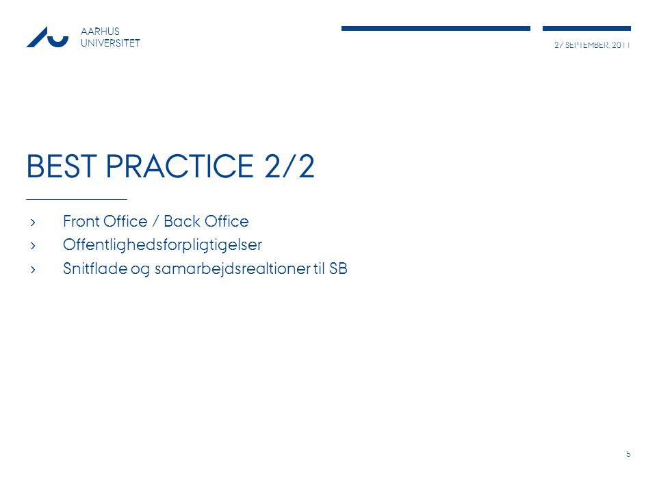 27 SEPTEMBER, 2011 AARHUS UNIVERSITET BEST PRACTICE 2/2 › Front Office / Back Office › Offentlighedsforpligtigelser › Snitflade og samarbejdsrealtioner til SB 5