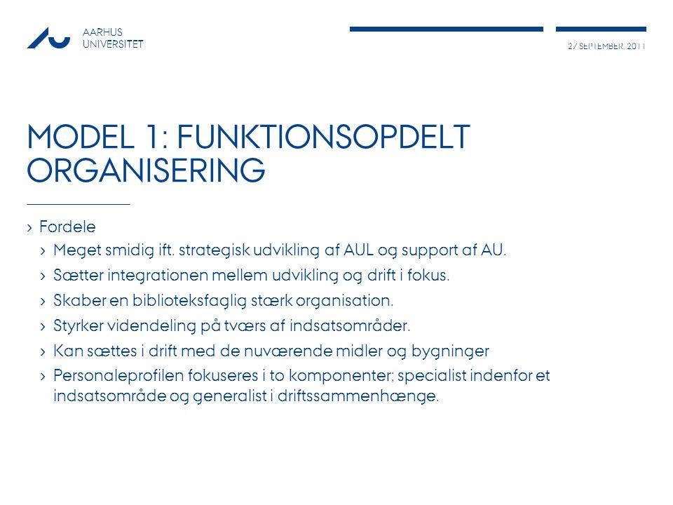 27 SEPTEMBER, 2011 AARHUS UNIVERSITET MODEL 1: FUNKTIONSOPDELT ORGANISERING › Fordele › Meget smidig ift.