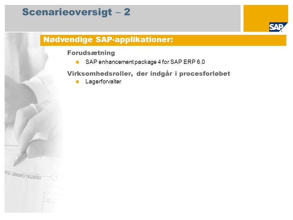 Scenarieoversigt – 2 Forudsætning SAP enhancement package 4 for SAP ERP 6.0 Virksomhedsroller, der indgår i procesforløbet Lagerforvalter Nødvendige SAP-applikationer: