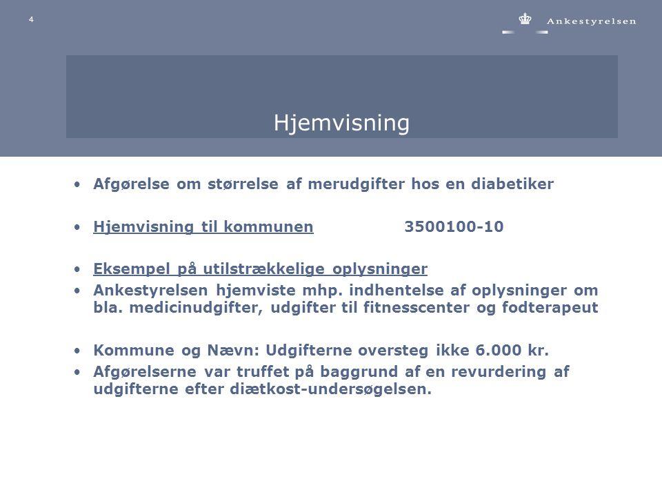 4 Hjemvisning Afgørelse om størrelse af merudgifter hos en diabetiker Hjemvisning til kommunen3500100-10 Eksempel på utilstrækkelige oplysninger Ankestyrelsen hjemviste mhp.