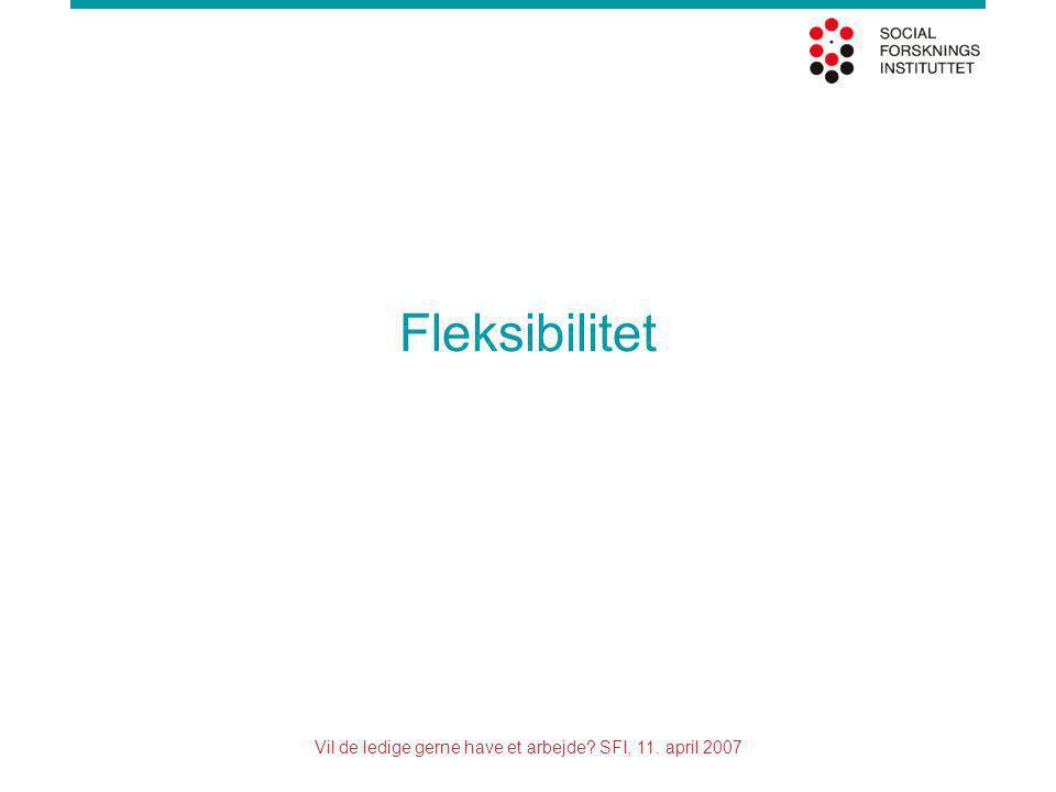 Vil de ledige gerne have et arbejde SFI, 11. april 2007 Fleksibilitet