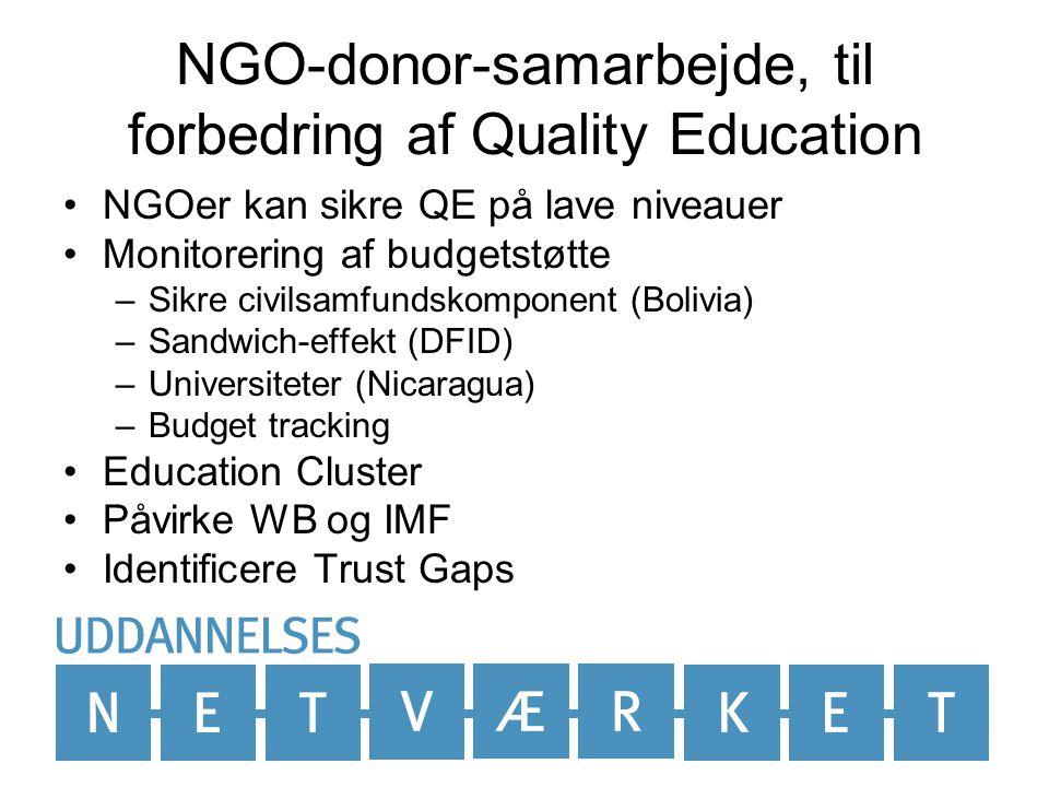 NGO-donor-samarbejde, til forbedring af Quality Education NGOer kan sikre QE på lave niveauer Monitorering af budgetstøtte –Sikre civilsamfundskomponent (Bolivia) –Sandwich-effekt (DFID) –Universiteter (Nicaragua) –Budget tracking Education Cluster Påvirke WB og IMF Identificere Trust Gaps