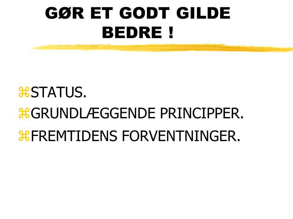 GØR ET GODT GILDE BEDRE ! zSTATUS. zGRUNDLÆGGENDE PRINCIPPER. zFREMTIDENS FORVENTNINGER.