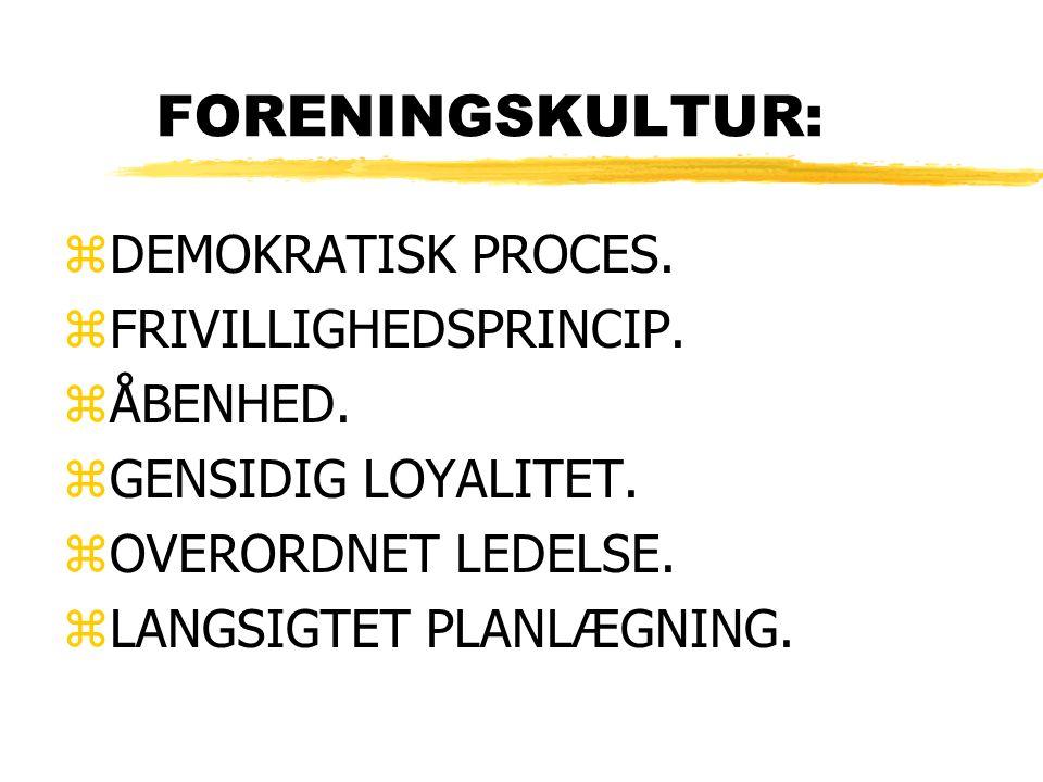FORENINGSKULTUR: zDEMOKRATISK PROCES. zFRIVILLIGHEDSPRINCIP.